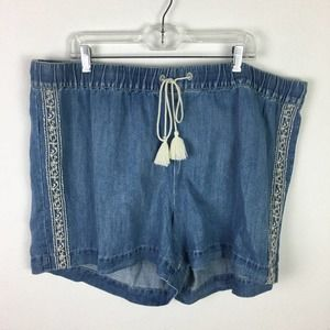 Loft Plus Chambray Embroidered NWT Shorts size 20